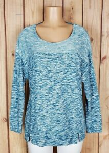 HONEYDEW-Womens-Size-Medium-3-4-Sleeve-Shirt-Abstract-Striped-Cotton-poly-Top