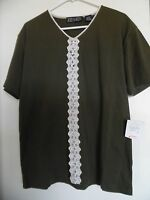 Zoey Beth Women's Size L Olive Green Short Sleeve Pullover Top Blouse Shirt