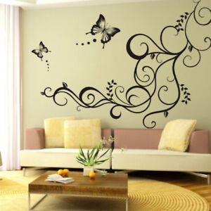 1pcs sticker mural fleur papillon autocollant diy d co mur. Black Bedroom Furniture Sets. Home Design Ideas