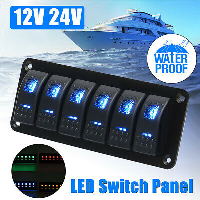 12V 24V Marine Boat Caravan Truck 6 Gang LED Rocker Switch Panel Circuit Breaker