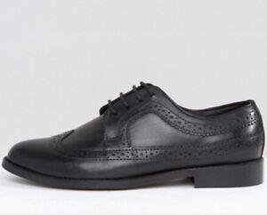 MENS ASOS MAI Leather Brogues Black UK