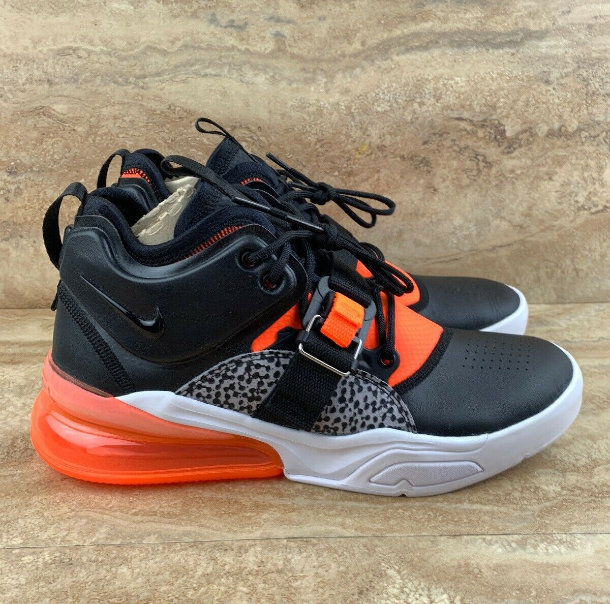 Nike Air Force 270 Safari Mens Athletic shoes White Grey orange Crimson