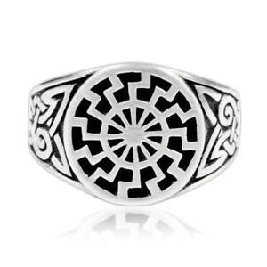 925-Sterling-Silver-Celtic-Knot-German-Schwarze-Sonne-Black-Sun-Sonnenrad-Ring
