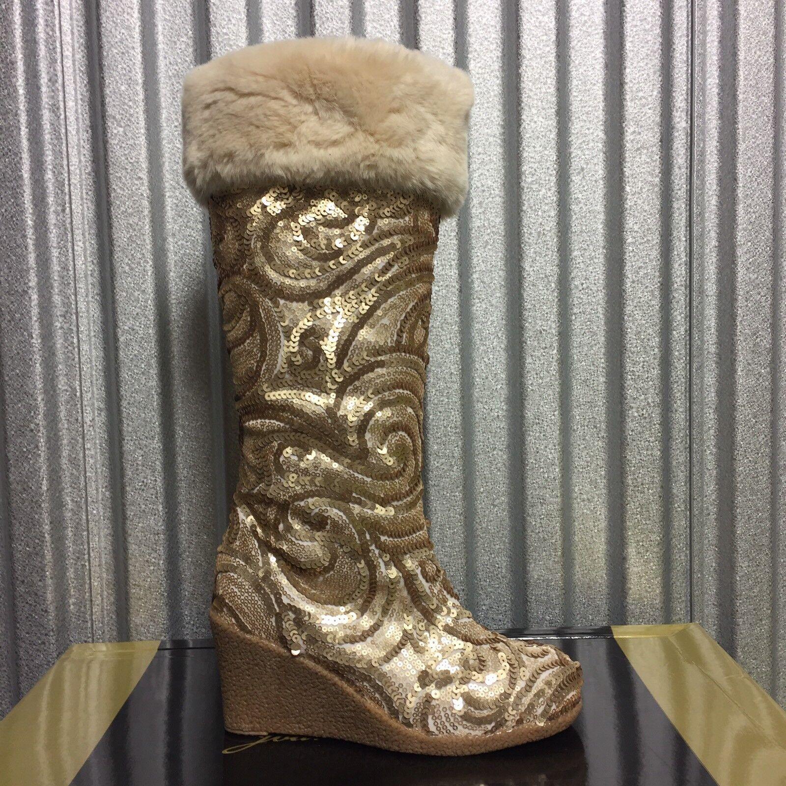 New JOAN BOYCE gold Sequin SHARI Tall Wedge Boots 6 M Faux Fur Cuff