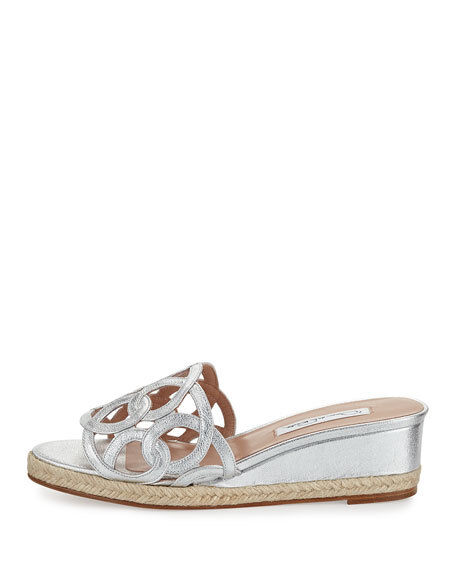 Oscar De La Renta Lina silver espadrille wedge sandals NEW MISMATE L10 R 9.5