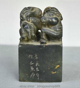 """8 """"Chinois Naturel Noir Pierre Shoushan Sculpté Animal 3 Statue De Phoque Chèvre"""