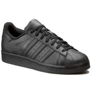 buy popular cb0af 1c3b5 Image is loading Adidas-Originals-Superstar-Foundation-All-Black-AF5666- Leather-
