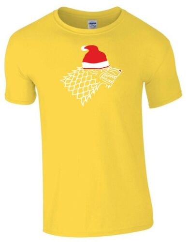 Game Of Thrones Christmas T Shirt Santa Stark Wolf GOT Funny Xmas Gift Men Top