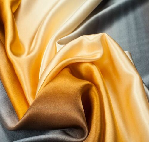 Premium Quality Silk Satin Ombre Plain Fabric Dress Upholstery Fashion Craft