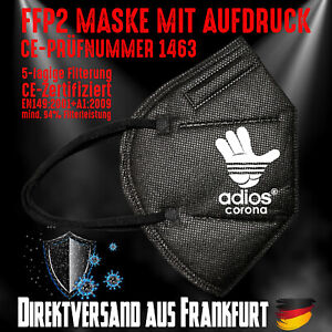 FFP2 Maske Mundschutz Mundmaske schwarz Zertifiziert CE 1463 Adios Corona