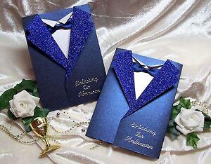 Einladung-zur-Kommunion-Konfirmation-BLAU-Weiss-SAKKO-Doppelkarte-mit-Umschlag
