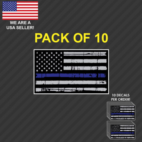 10x Distressed Tattered American Flag Police Thin Blue Line decal sticker BLM US