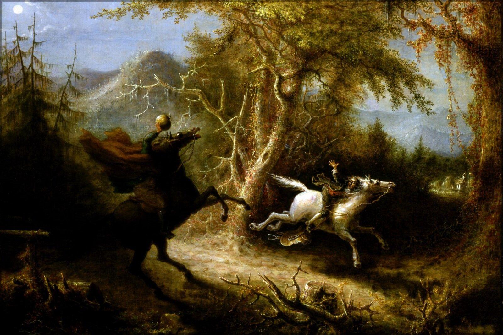 Poster, Many Größes; Headless Horseman Pursuing Ichabod Crane By John Quidor 1858
