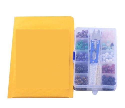 240pcs 8mm Round Loose Natural Gemstone Beads Box Set Kits for Bracelet Jewelry