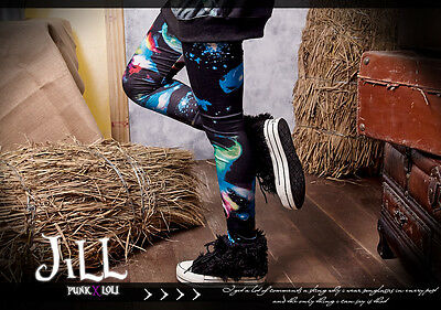 Street punk visual KERA Andromeda galaxy constellation print legging tights