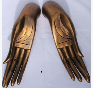 Wooden-Hands-of-Buddha-Pair-Gold-33cm-size-handcarved-in-Thailand-Fair-Trade