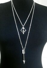 """Long Arrow & Bow Charms Layered Necklace Minimalist Silver Tone 30"""" Chain"""