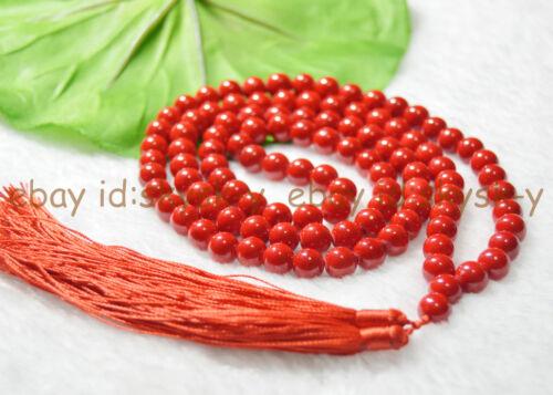 Handmade 8 mm bouddhisme tibétain 108 Corail Rouge prière perles Mantra Mala Collier
