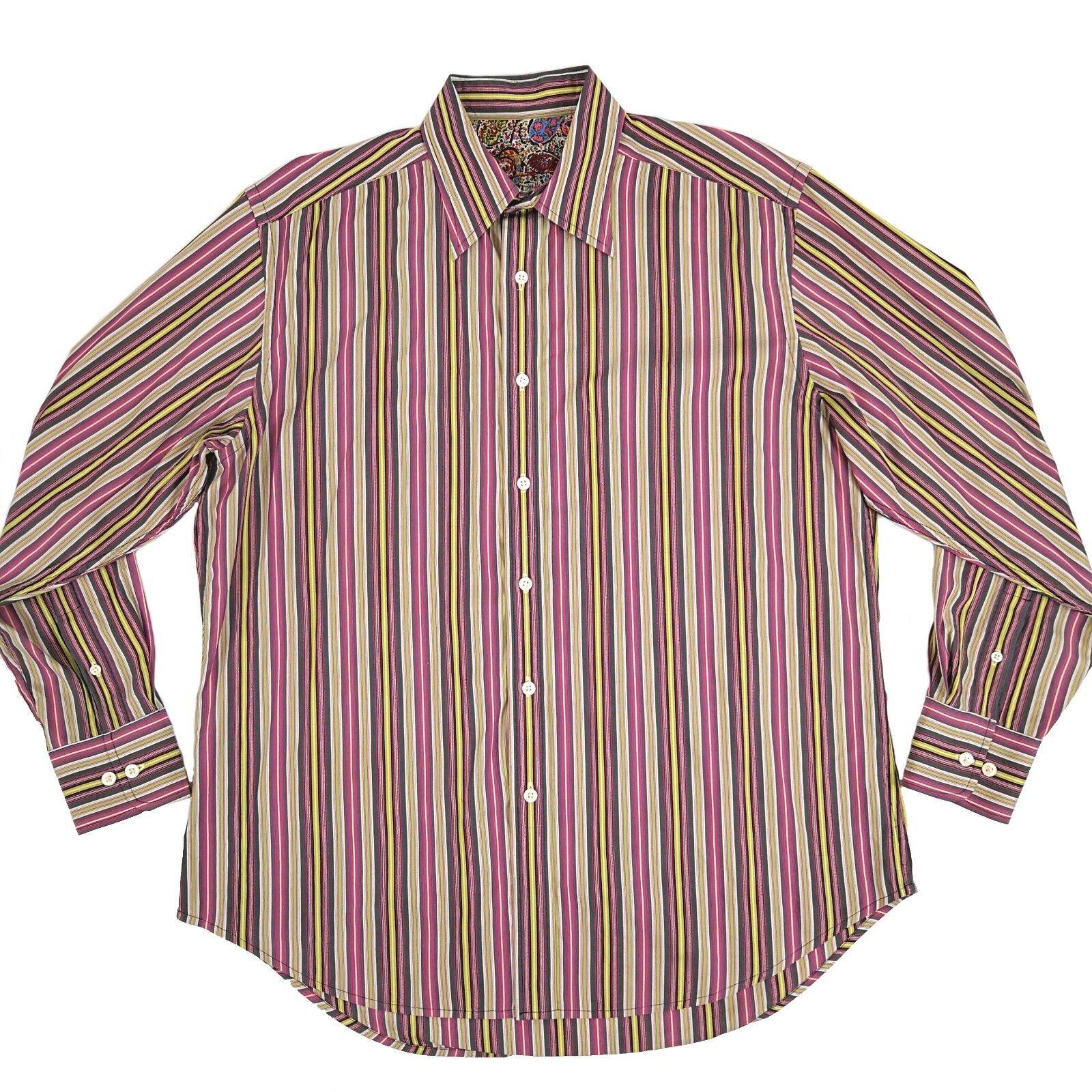 Robert Graham Mens Large Long Sleeve Shirt Pinstripe Flip Cuff