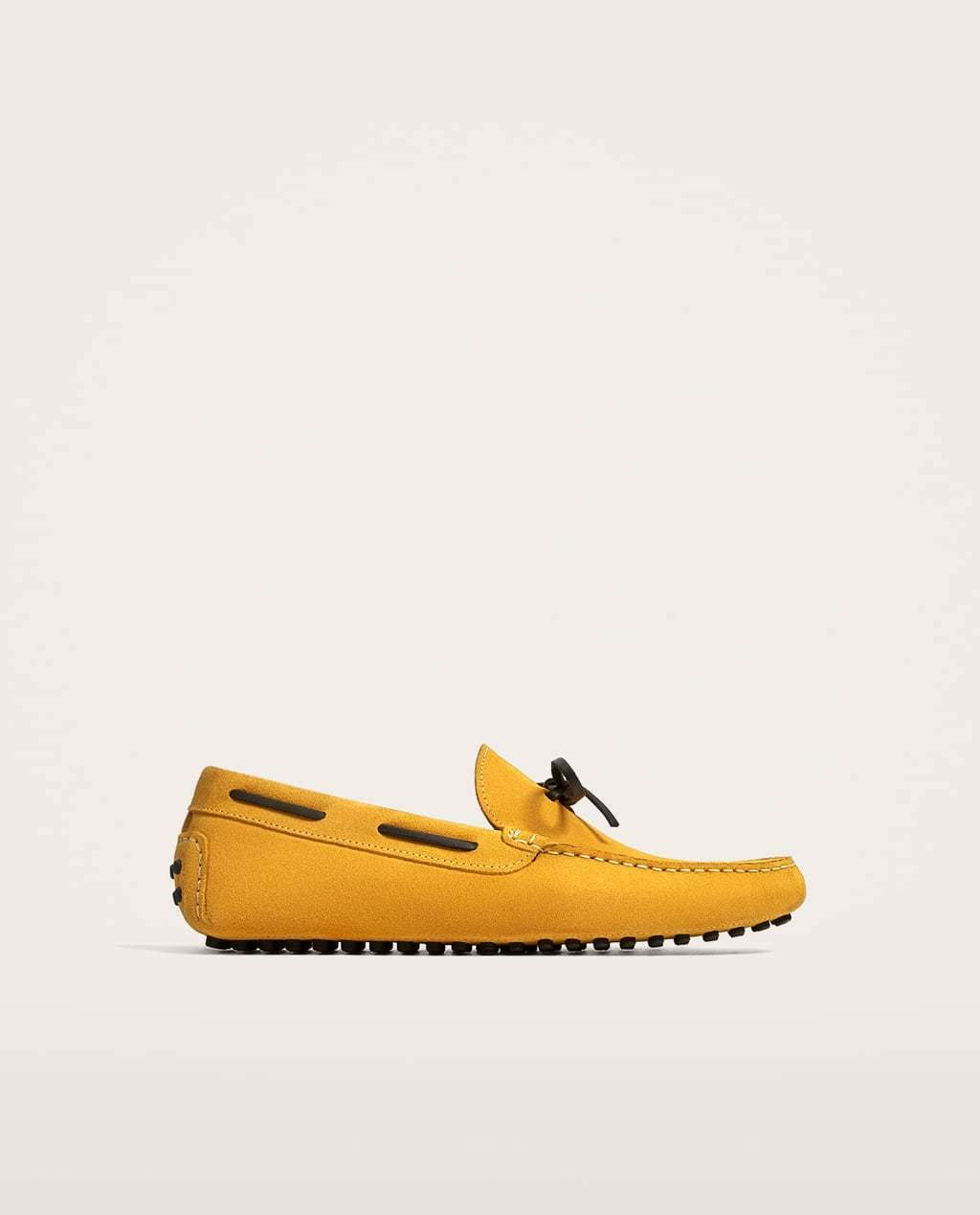 Scarpe casual da uomo  BNWT ZARA Yellow Leather Driver Shoes With Bow s.EU 42 US 9 REF.5123/202