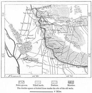 Babylon IRAQ sketch map c1885 old antique vintage plan chart