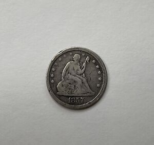 1857-P Seated Liberty Silver Quarter - Circulated