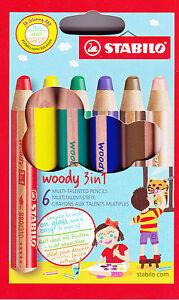 Multitalent-Farbstift Buntstift 6-er Etui Stabilo Woody 3 in 1 8806 ANSPITZER