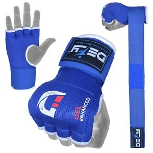 DEFY-Gel-Padded-Inner-Gloves-with-Hand-Wraps-MMA-Muay-Thai-Boxing-Fight-Blue