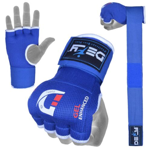DEFY™ Gel Padded Inner Gloves with Hand Wraps MMA Muay Thai Boxing Fight Blue