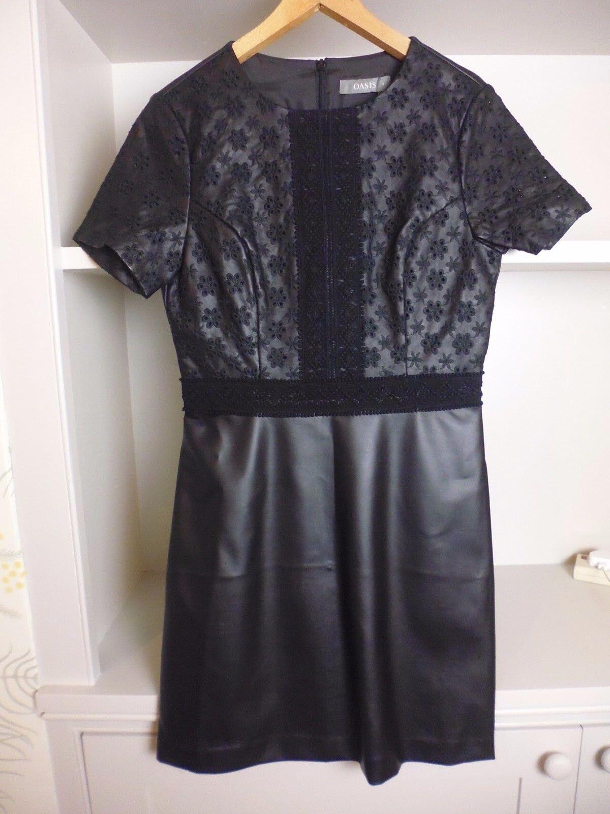 OASIS nero in finta pelle Vegan Shift Dress-Dettagli di Ricamo-Taglia 8-NUOVA CON ETICHETTA