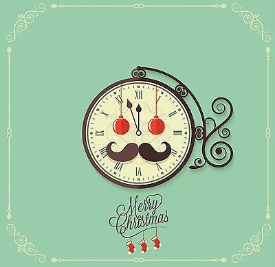 Christmas & New Year 2017 Celebration - Vintage effect Clock Moustache