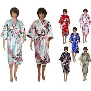 f04cdfe80d969f Das Bild wird geladen Kimono-Damen-Satin-lang-blau-schwarz-rosa-tuerkis-