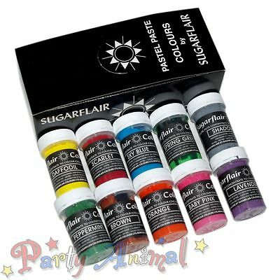 Sugarflair 10 NEW 2013 COLOURS Pastel Edible Food Paste Gel Sugarcraft Paint