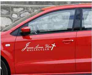 Exterior Accessories Car Stickers Car Styling Jesus Loves You Hallelujah Christian Reflective Car Sticker