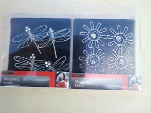 4-x-Dragonfly-Insect-Plus-4-x-Sun-Fridge-Magnets-Made-From-Metal-And-Crystals