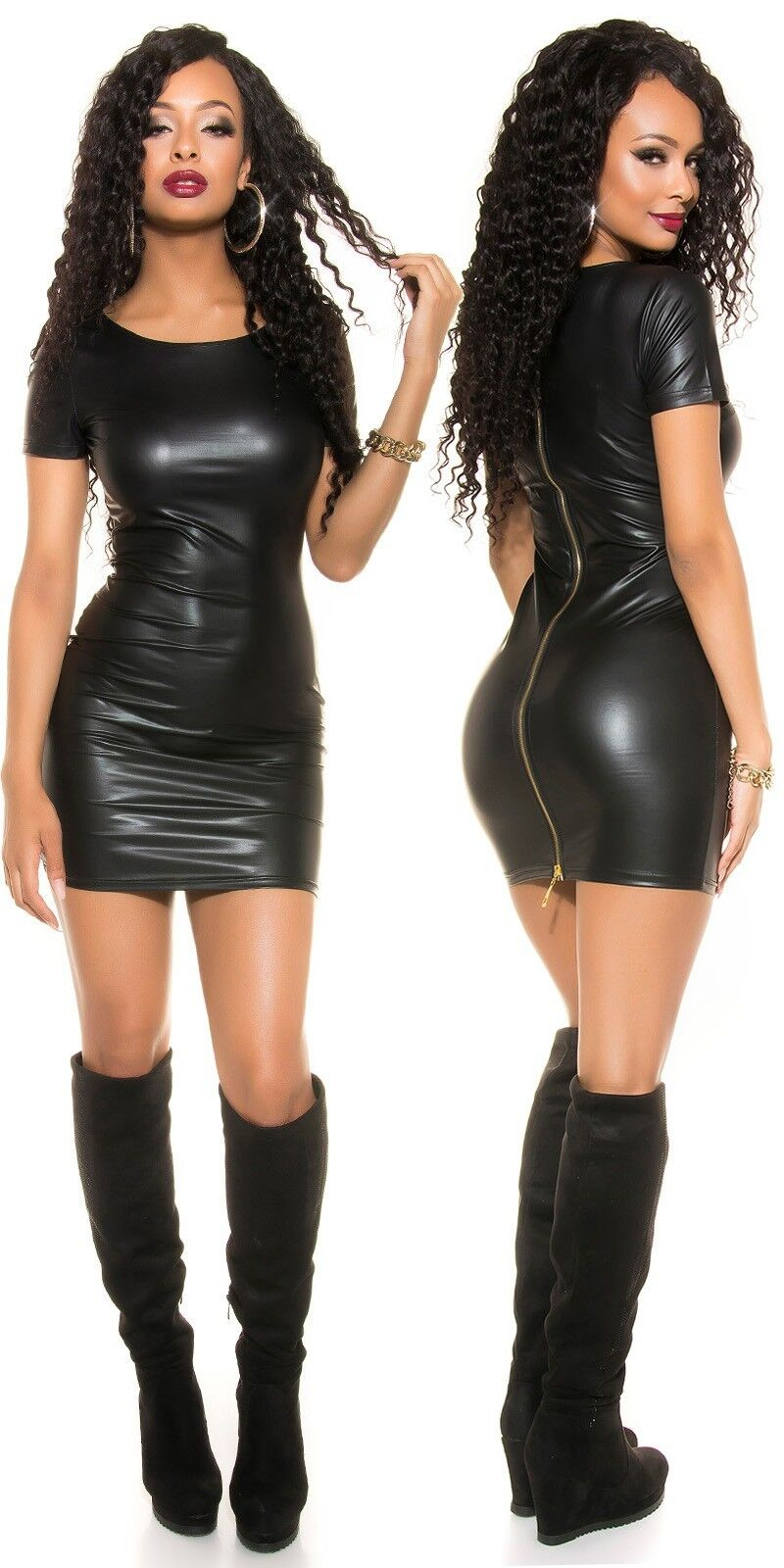 Sexy Wetlook Minikleid Reißverschluss Zip Kurzarm S M 36 38 black Mini Kleid