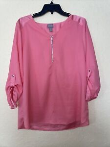 Chicos 3/4 Zipper Blouse Top Size 1 Watermelon Pink Roll Tab Long Sleeve