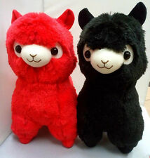 New Alpacasso Red & Black Alpaca Plush Amuse Arpakasso Fluffy Toy Gift 35cm 2PCS