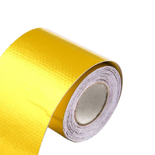 """1 Roll Adhesive Reflective Gold High Temperature Heat Shield Wrap Tape 2/""""x5mNP"""