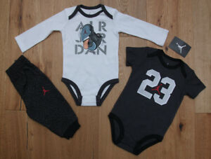 b71a74c22 Air Jordan Infant Boy 3 Piece Long & Short Sleeve Bodysuit & Pants ...