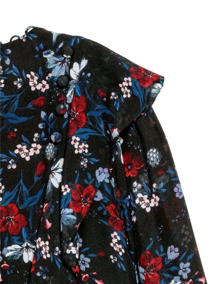 2017 ERDEM H&M schwarz Floral Print Patterned Silk Flounced Blouse Shirt Top