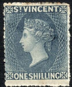 St Vincent 1862 slate-grey 1/- no watermark perf 14/16 mint SG9