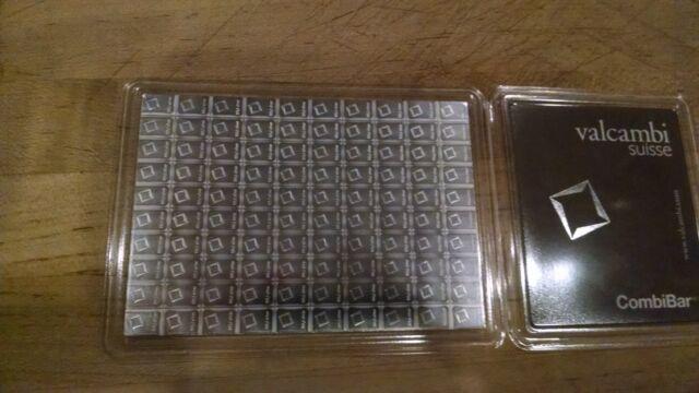100x1g w// Assay 100 Gram Valcambi Suisse Silver CombiBar .999 fine Fractional