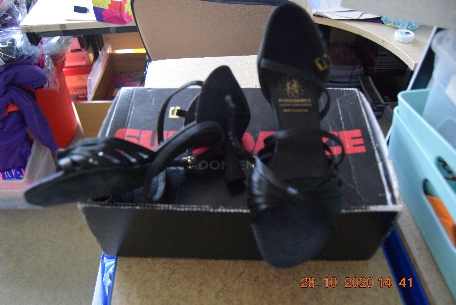 Black satin Supadance 1066 ballroom latin dance shoes - size UK 2.5 narrow