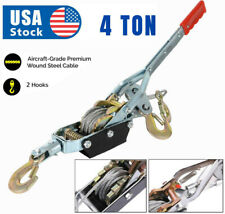 4 Ton Wire Rope Tightener Come A Long Winch Cable Hand Power Puller 2 Hooks Us