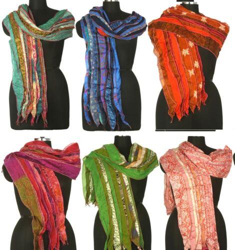 10 Vintage Silk Sari Recyclé écharpes étoles Patchwork Écharpe Lot en Gros SC6