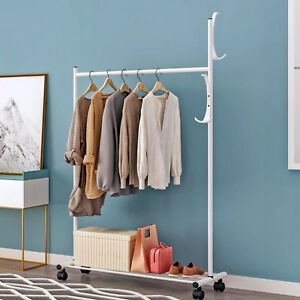 Details about 360° Move Bedroom Garment Rack Coat Hat Clothing Rack Laundry  Shelf ~US Stock