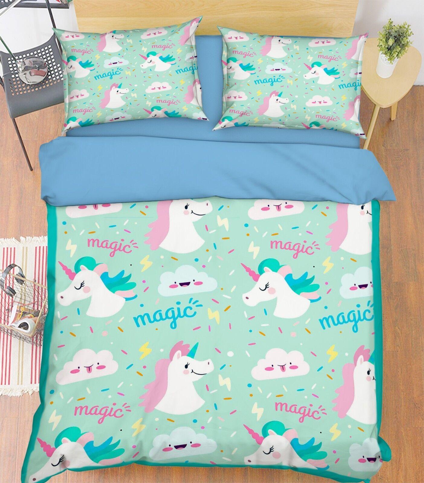 3D Magic Unicorn 675 Bed Pillowcases Quilt Duvet Cover Set Single King UK Summer