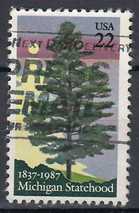 Estados-unidos-sello-con-sello-22c-michigan-Statehood-arbol-tierra-salvaje-602
