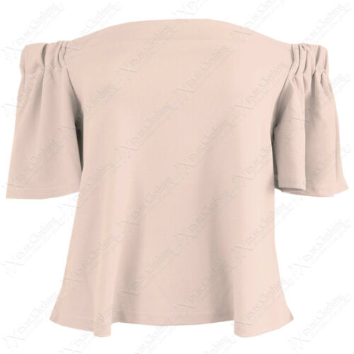 LADIES BARDOT FRILL SHORT SLEEVE SWING TOP WOMENS OFF SHOULDER LOOK TOPS BLOUSE
